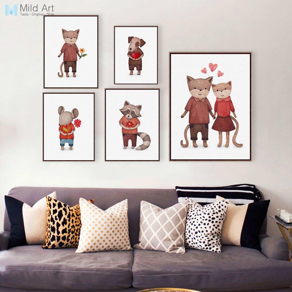 ΞAcuarela gato amor perro A4 impresiones Kawaii Animal cuadros ...