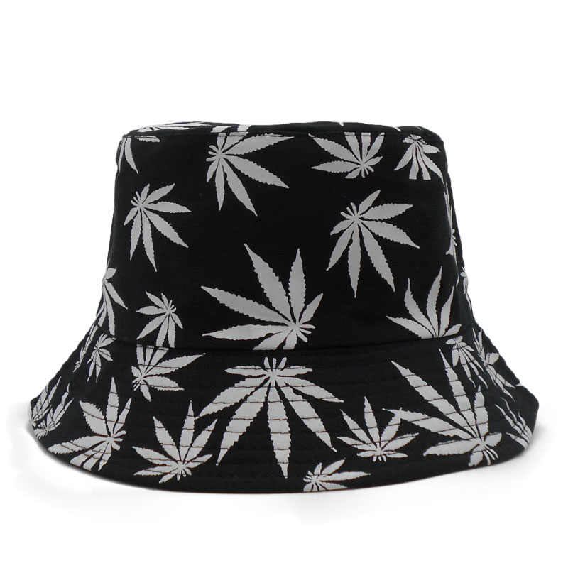 3d313af6763 ... Weed Bucket Hat Men 2018 New Fashion Adults Print Cap Foldable Cotton  Summer Outdoor Fishing Hats