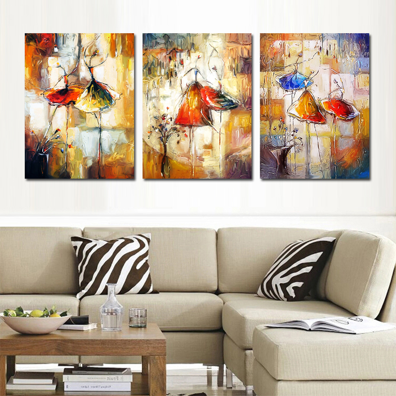Modern Abstract Ballet Dancer Wall Painting Artistic Ballerina Canvas Art For Living Room Decor Gift Picture 3PCS