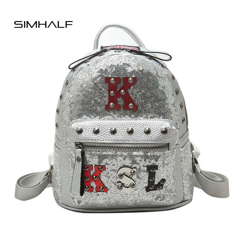 SIMHALF Fashion Women Backpack Cute Embroidered Sequins Backpacks For Teenage Girls Leather Backpacks High Quality School