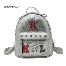 SIMHALF Fashion Women Backpack Cute Embroidered Sequins Backpacks For Teenage Girls Leather Backpacks High Quality School Bags