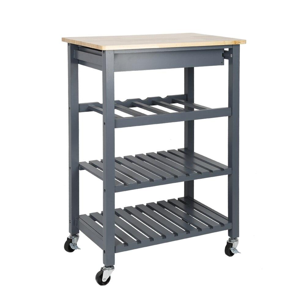 Solid Pine Top Kitchen Island Trolley Three-layer Shelf Rack With Universal Wheel HWC