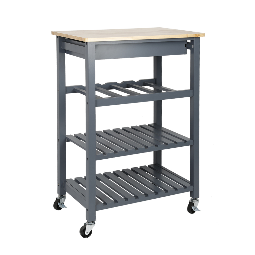 Solid Pine Top Kitchen Island Trolley Three-layer Shelf Rack With Universal Wheel HWC