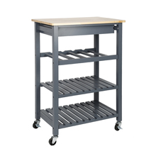 Solid Pine Top Kitchen Island Trolley Three layer Shelf Rack with Universal Wheel HWC