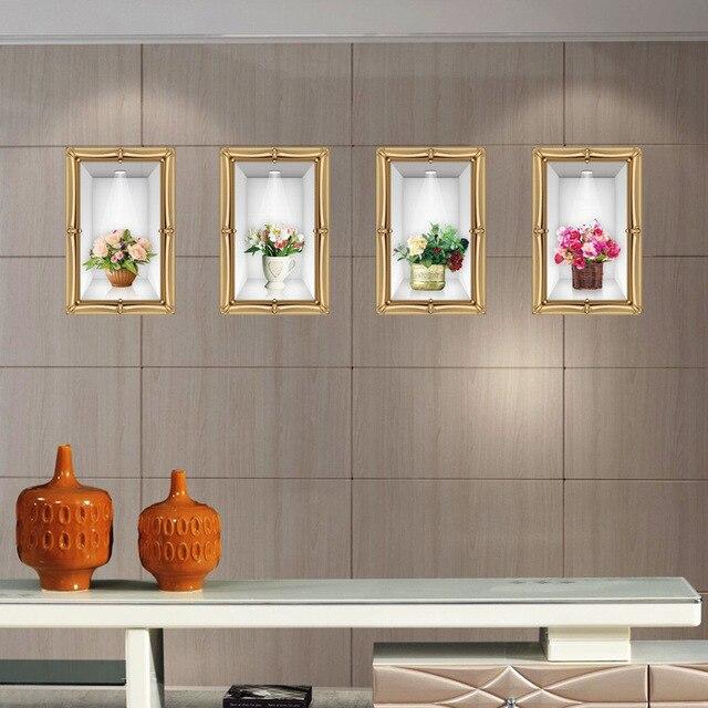 3d faux cadre photo st r o fleurs dans le vase mur autocollants salon chambre plante fra che. Black Bedroom Furniture Sets. Home Design Ideas