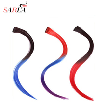 "SARLA 1PC 20"" Straight Synthetic High Temperature Fiber Clip In Ombre Hair Extensions Gradient Hairpiece"