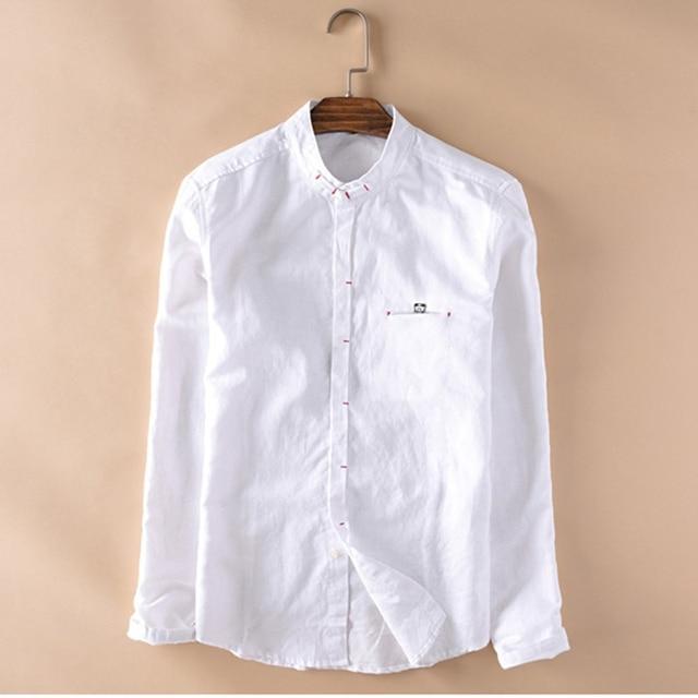 4c2d034b5 Trendy Style Men Cotton Linen Shirts Long Sleeve White Black Shirt Mandarin  Collar Slim Fit High Quality Fashion Asian Size XXXL