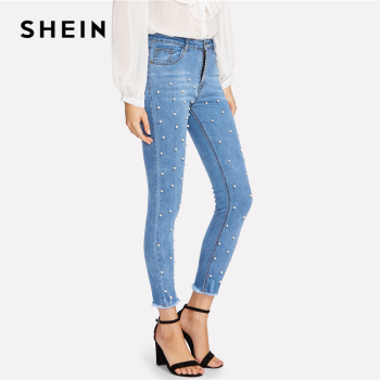 SHEIN Pearl Beaded Frayed Jeans 2018 Summer Blue Mid Waist Pocket Zipper Fly Jeans Women Hem Denim Casual Pants