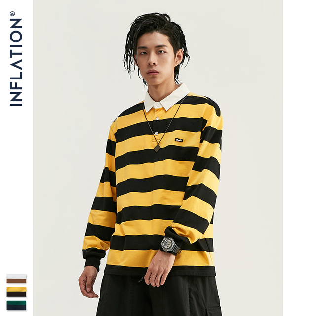 INFLATION Men Autumn Striped Tshirt Men Streetwear Turn Down Collar T shirt Long Sleeve Tees For Men 100% Cotton Shirts 91504W