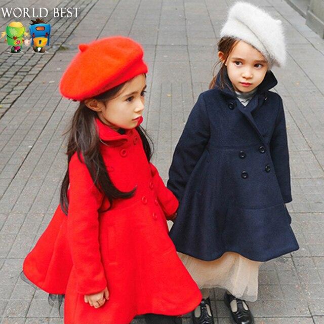Детская Одежда 2016 Девушки Зимнее Пальто Сплошной Цвет Пальто Мода Верхняя Одежда Ребенка Шерстяные Пальто Дети Платья Для Девочек