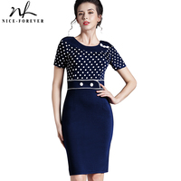 Button Dress Polka Dot Elegant Formal Short Sleeve Women Pinup Rockabilly Tunic Bodycon Evening Shift Midi