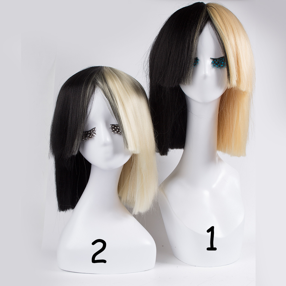 Blonde Sia wig Thick Blunt Bob Wig Top cosplay Women s Half Blonde and  Black 2 Tone Hair Short Straight Cosplay Costume Wig on Aliexpress.com  7e8fa8108