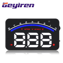 M6 Car Alarm HUD Head Up Display 3.5 Inch Windshield Projector OBD2 Vehicle Speed Voltmeter Digital Show System Monitor GEYIREN  цена и фото