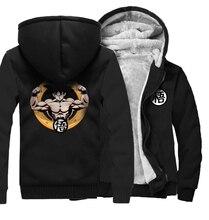 Japan Anime Dragon Ball Z  Print Brand Sweatshirts Men 2019 Winter Warm Fleece Thicken Coat Zipper Plus Size Hoodies 5XL