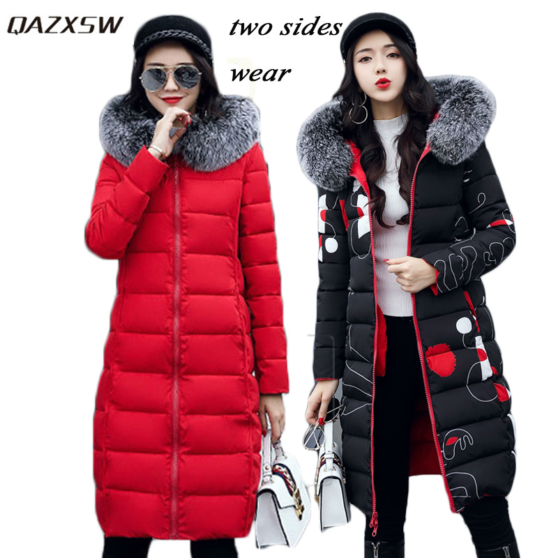 QAZXSW 2017 New Winter Cotton Coat Women Slim Hooded Jacket Two Sides Wear Long Parkas Fur Collar Winter Padded Abrigos HB339 qazxsw 2017 new winter cotton coat women slim hooded jacket two sides wear long parkas fur collar winter padded abrigos hb339