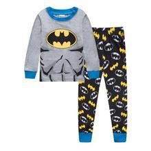 Комплект одежды для сна с рисунком для мальчиков, Детские пижамные комплекты, хлопковые пижамы с длинными рукавами для маленьких девочек 2-7 лет