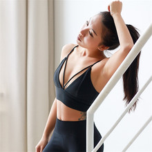 Cute Strappy Sports Bra For Women Removable Padded Push Up Fitness Gym Crop Top Solid Purple Sport Brassiere Underwear 2018