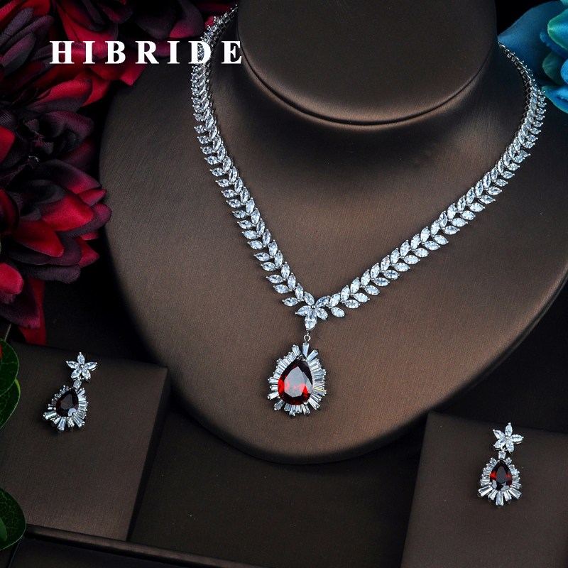 HIBRIDE Brilliant Big Red Full Cubic Zirconia Necklace Set Women Bride Jewelry Sets Wedding Accessories Gifts Wholesale N-428 цена