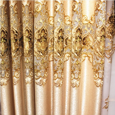 Polyester European Luxury elegance Embroidery Blackout curtain for living room/ Kitche French Window Drapes Shading Cloth Decor(China)