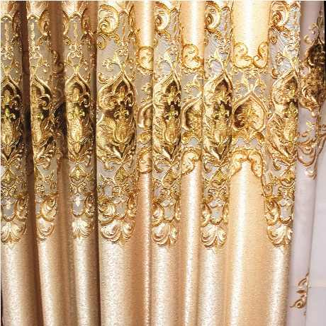 Polyester European Luxury elegance Embroidery Blackout curtain for living room/ Kitche French Window Drapes Shading Cloth Decor
