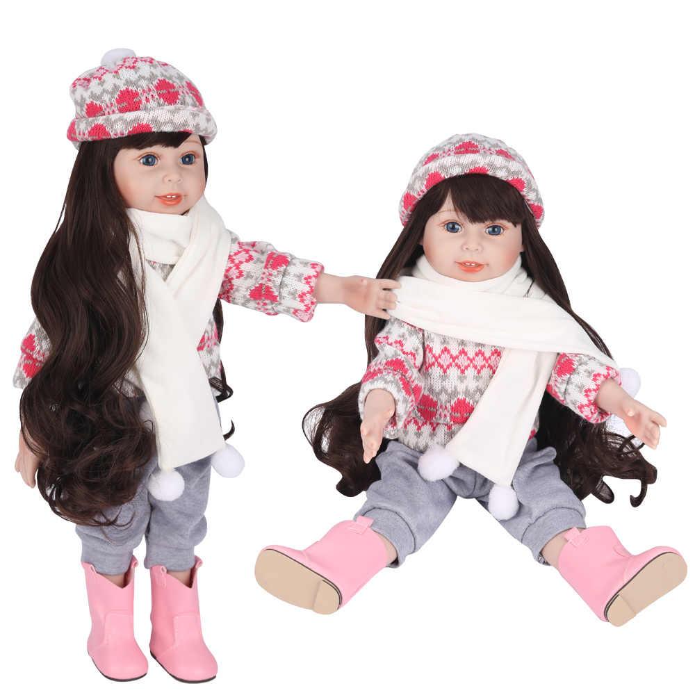 UCanaan 18 polegada 45 CENTÍMETROS Menina Brinquedo Artesanal Boneca Bonecos De Vinil De Silicone Macio Completo para a menina (roupas + sapatos + Headwear) -Tina