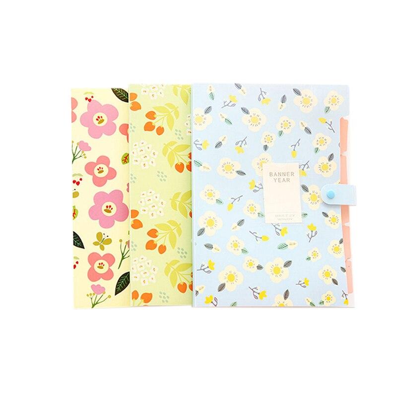 3Pcs Fresh Floral Filing Production Folder Multi-Function 8 Into Mezzanine File A4 Document File Folder School Office