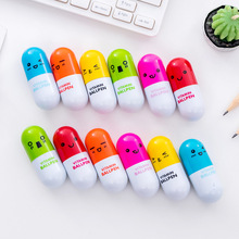 6Pcs Cartoon Capsule Ballpoint Pens Kawaii Creative Writing Handle Pen Toy Gift Lovely Things Office Stationery School Supplies