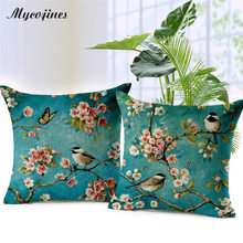 Rose Flower Tree Birds Cushion Cover Chinese Style Candy Color Soft Pillow Covers Baby Bedroom Sofa Decorative Throw Pillows(China)