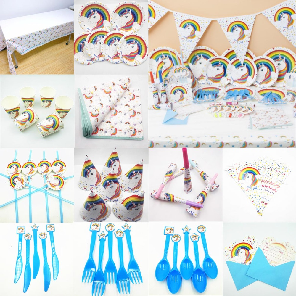 Unicorn Kids Birthday Party Supplies Decoration Set Tablecloth Cup Plate Straw Napkin Cap Gift Bag Candle Candy Popcorn Box Card