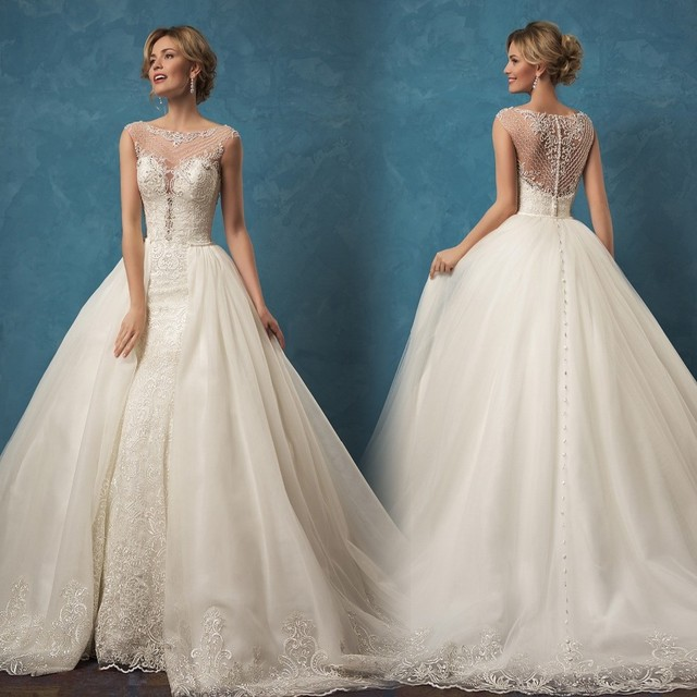 New Couture 2017 Wedding Dress with Detachable Train Lace Beaded ...