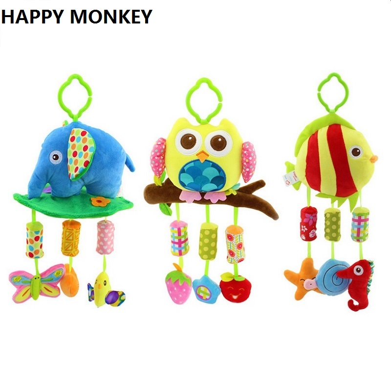 Happy Monkey Soft Plush Toys Bed Bells Baby Rattle Hanging
