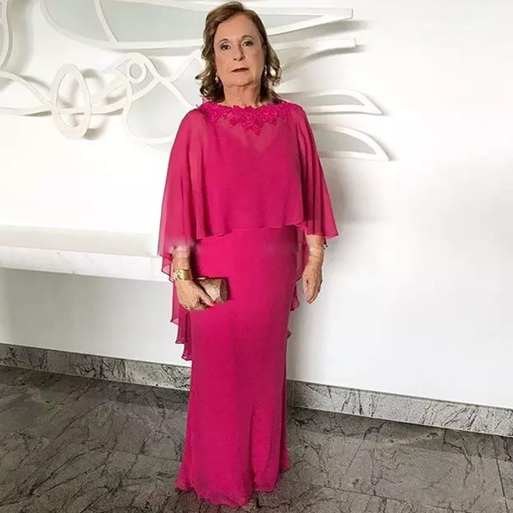 Fuchsia Chiffon Mother Of The Bride Dresses 2019 vestido de madrinha Lace Appliques With Cape Weddings Floor Length Formal Gown in Mother of the Bride Dresses from Weddings Events