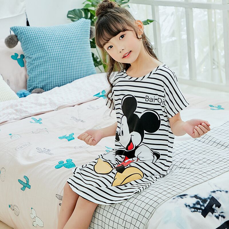 Girls Princess Nightgowns Summer Children's Clothing Children Short Sleeve Cartoon Nightdress Kids Knitted Sleepwear 2018 New