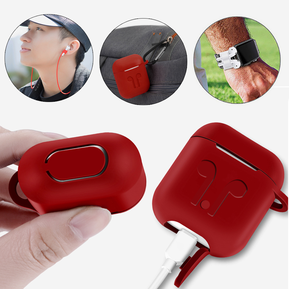 360 Protection for Apple Airpods Accessories Case <font><b>Air</b></font> <font><b>Pods</b></font> Earphones Protector on <font><b>i9s</b></font> i10 i11 i13 i19 <font><b>TWS</b></font> Hanging Rope Cover image