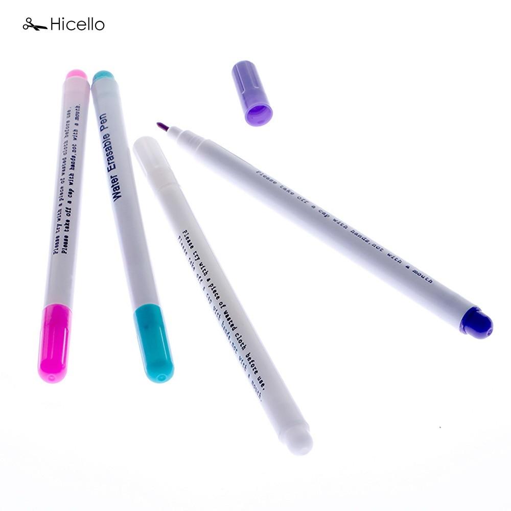 Echt Hicello 4 stks Water Uitwisbare Pennen Stof Markers Oplosbare Kruissteek Tule Inkt Markering Pennen DIY Handwerken Thuis Gereedschap
