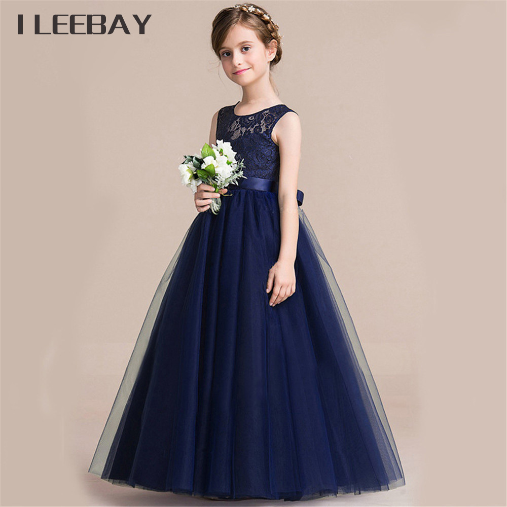 Baby girls princess long dress flower girl wedding party for Long dresses for wedding party