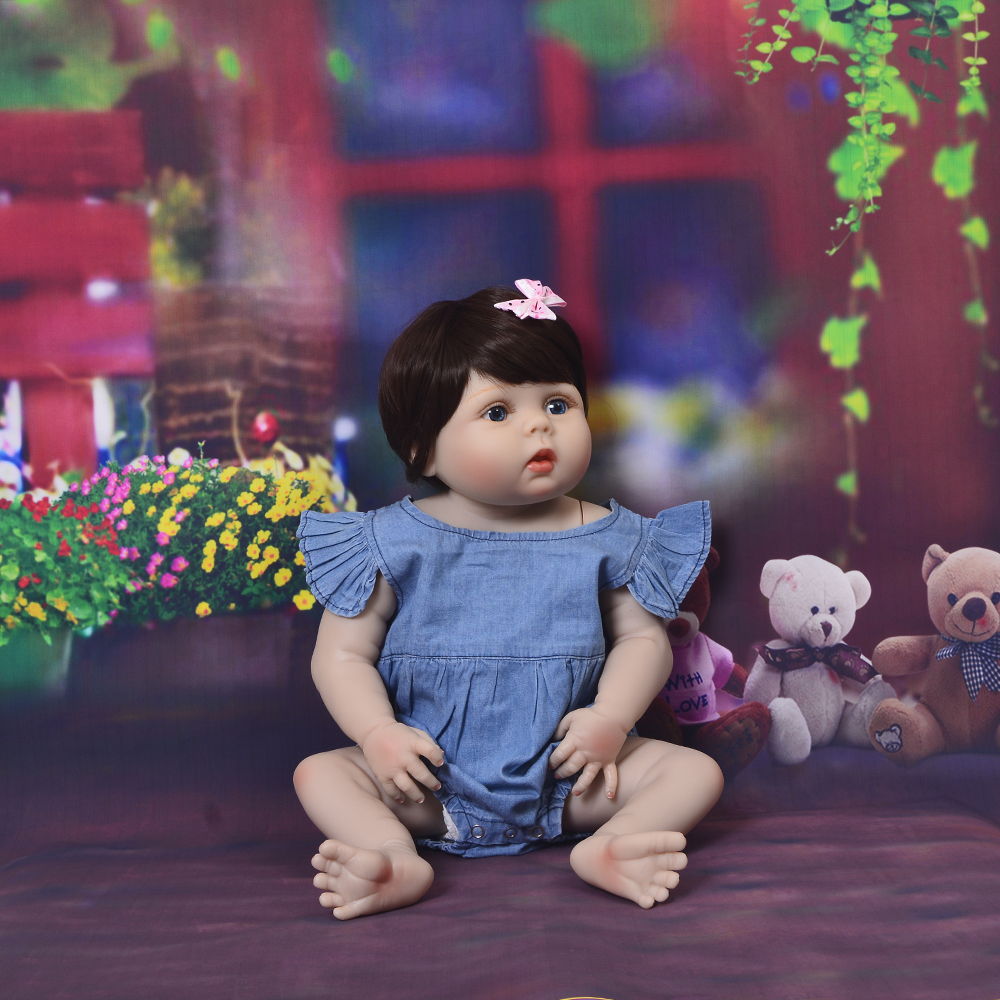 New Arrival 23'' 57cm Baby Girl Doll Full Silicone Body Lifelike Bebe Reborn Bonecas Handmade Baby Toy For Kids Christmas Gifts