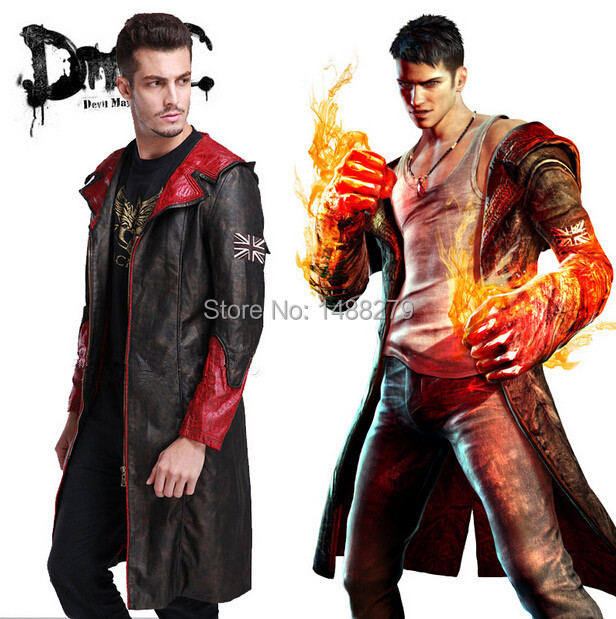 devil may cry 5 cosplay pu leather jacket game dmc dante hooded