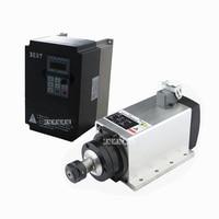 New 3KW 220V / 380V 300Hz AC Motor Air Cooled Electric Spindle ER20 3000W Square Spindle Motor + 220V/3KW 15A Frequency Inverter