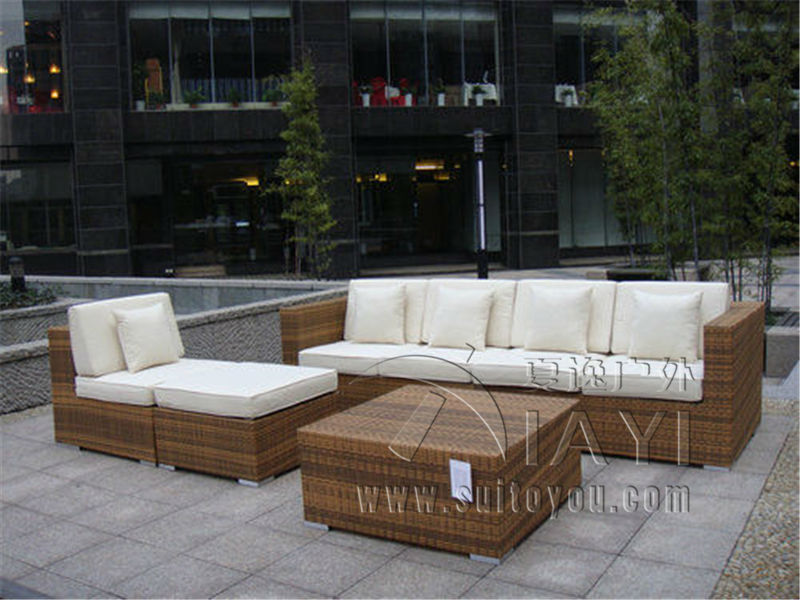 7-pcs PE Rattan Sofa With Side Sofa , Middle Sofa , Ottoman , Coffee Table