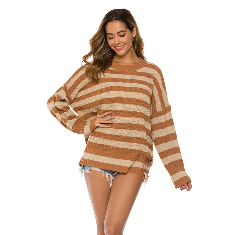 ALLNeon Hollow out Striped Round Neck Female Sweater Loose Knitting Pullover Long Sleeve Ladies Tops Over Size Streetwear in Pullovers from Women 39 s Clothing