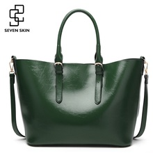 купить SEVEN SKIN Brand 2017 New Women Handbags Solid PU Leather Bags Women's Shoulder Bag Female Large Casual Tote Bag bolsos mujer по цене 2601.99 рублей