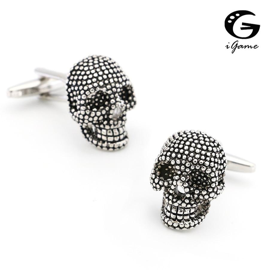 IGame Vintage Skeleton Cuff Links Black Color Brass Material 3D Skull Design Free Shipping
