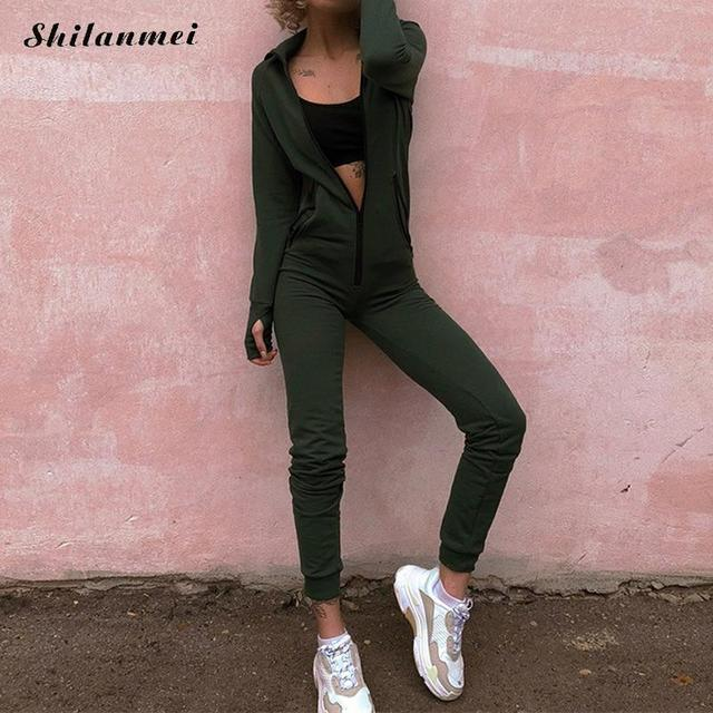 d521ec53002 Dropshipping 2018 New Slim Sexy Long Jumpsuit Women Long Sleeve Playsuit  Hooded Overalls Zipper Outfit Autumn V Neck Bodysuit