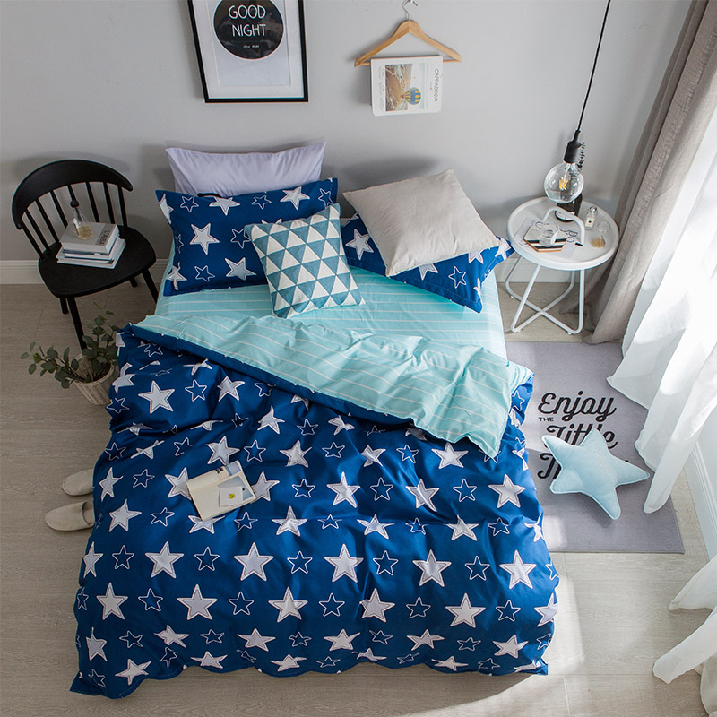 Fashionable Blue + White Star Pattern Bedding Sets 4pcs Bed Sheet Duvet Cover Pillowcase Soft Comfortable King Queen Full Size