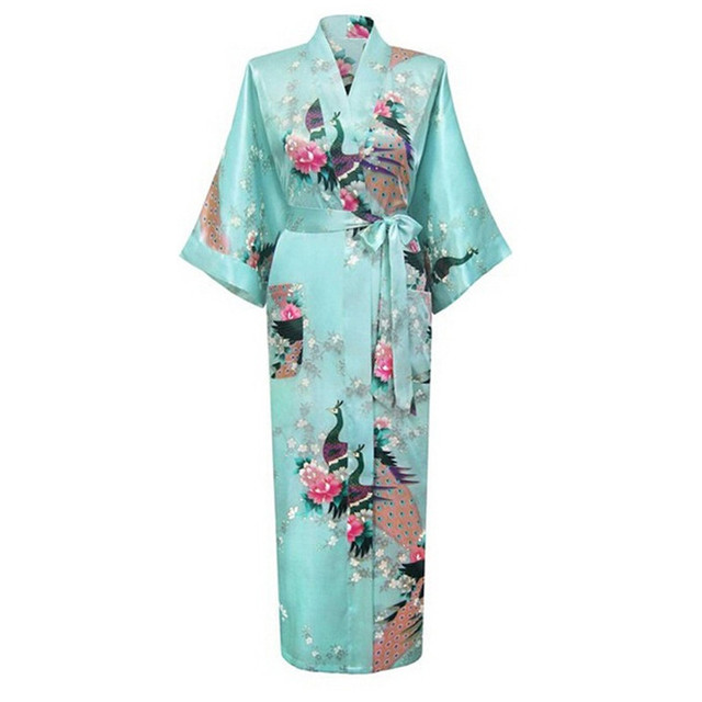 Hot Sale Sky Blue Femmes Rayon Robes Gown Kimono Yukata Chinese Women Sexy Lingerie Flower Sleepwear Plus SizeS M L XL XXL XXXL