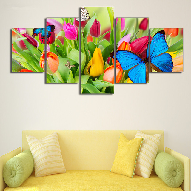 5 Pcs Canvas Art HD Printed Painting Abstract Butterfly Tulip ...