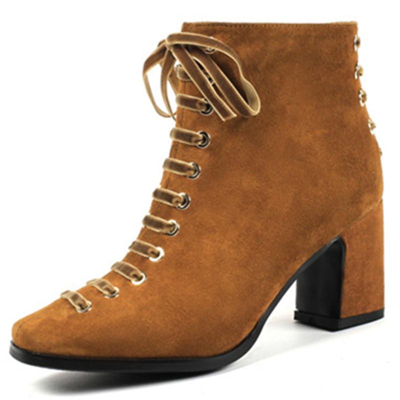 Color Toe Moda Tacones Mujer Para Asumer Caramel negro Cuero Cruzadas Mujeres Otoño Suede Botas Zapatos Altos Invierno Las Tobillo Zip IUZwXxdqw