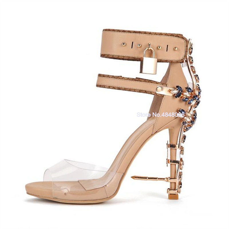 Fantasy Crystal Studded Metal Decor Woman Sandals Transparent PVC Rhinestone Sandals Ankle Padlock Bridal Wedding Shoes Woman