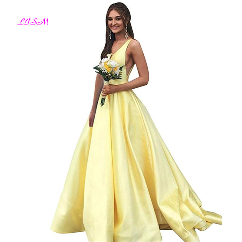 V Neck Prom Dresses Long Stain Evening Ball Gowns for Women Formal with Pockets A-Line Sleeveless Party Gowns vestido formatura